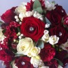 Scented Bride's handtied bouquet with mixed red roses, bouvardia and freesia
