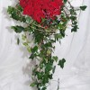 Romantic red rose Bride's handtied bouquet with trailing ivy
